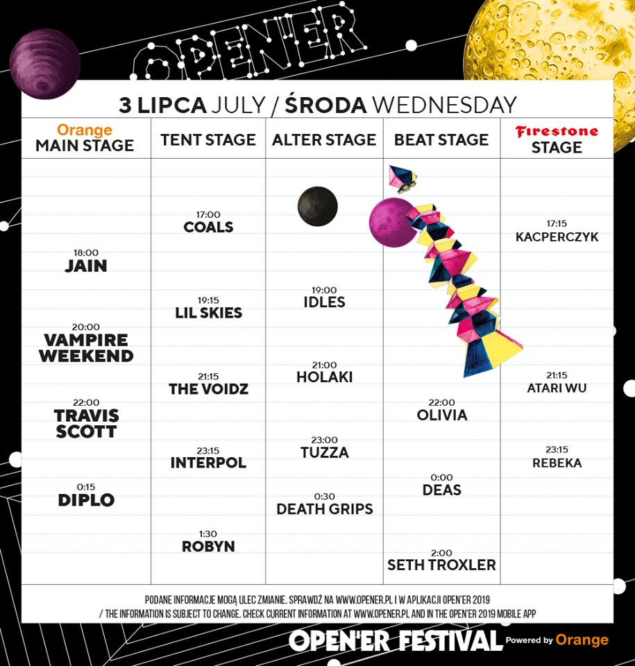 Open'er Festival 3 lipca timetable