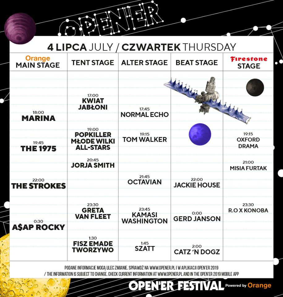 Open'er Festival 4 lipca timetable