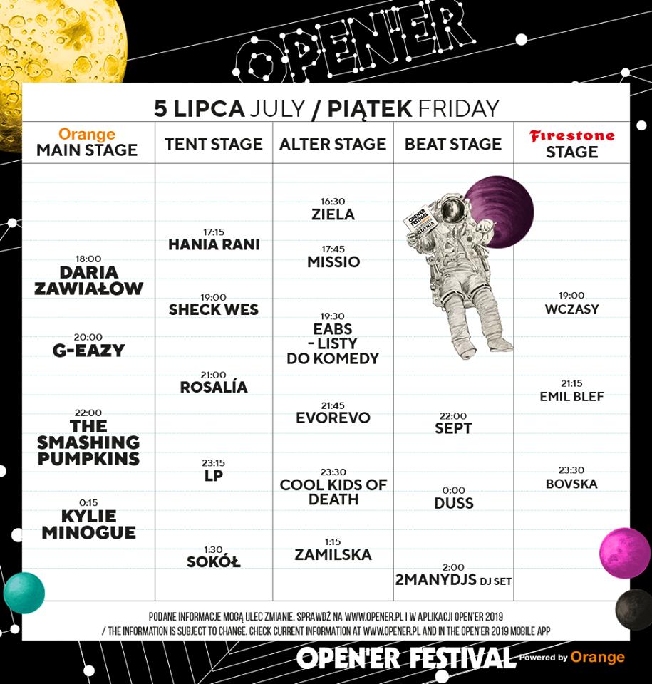 Open'er Festival 5 lipca timetable