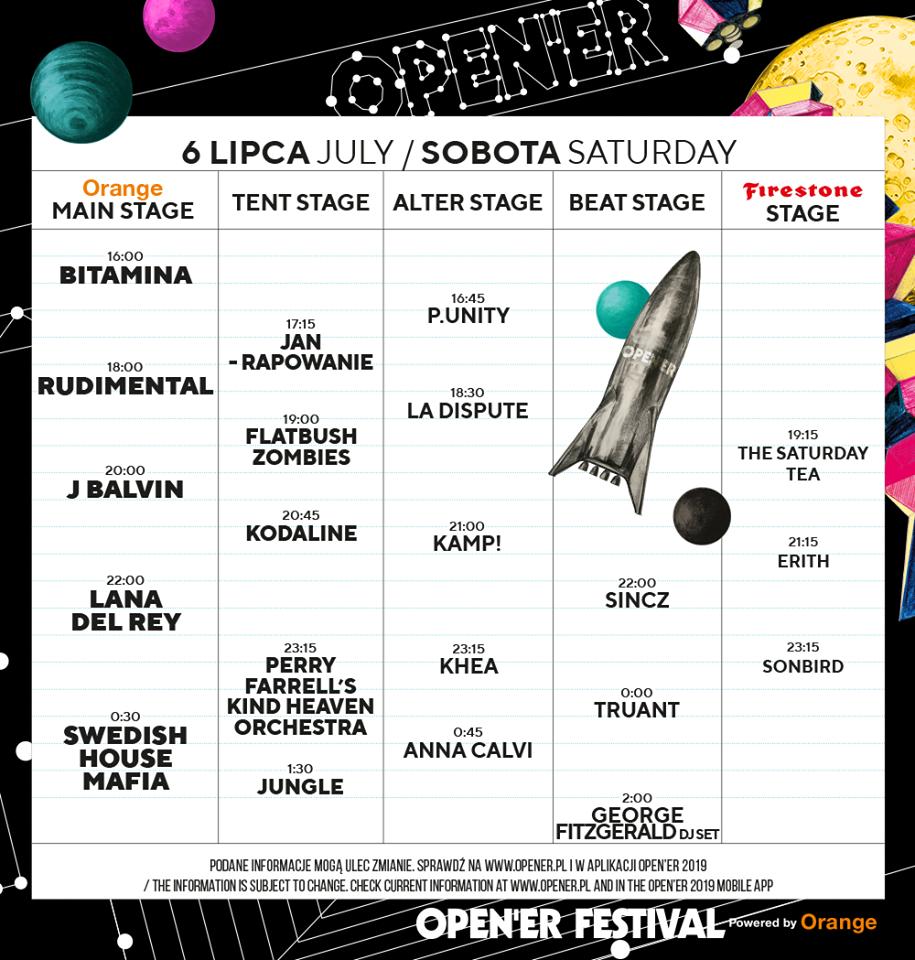 Open'er Festival 6 lipca timetable