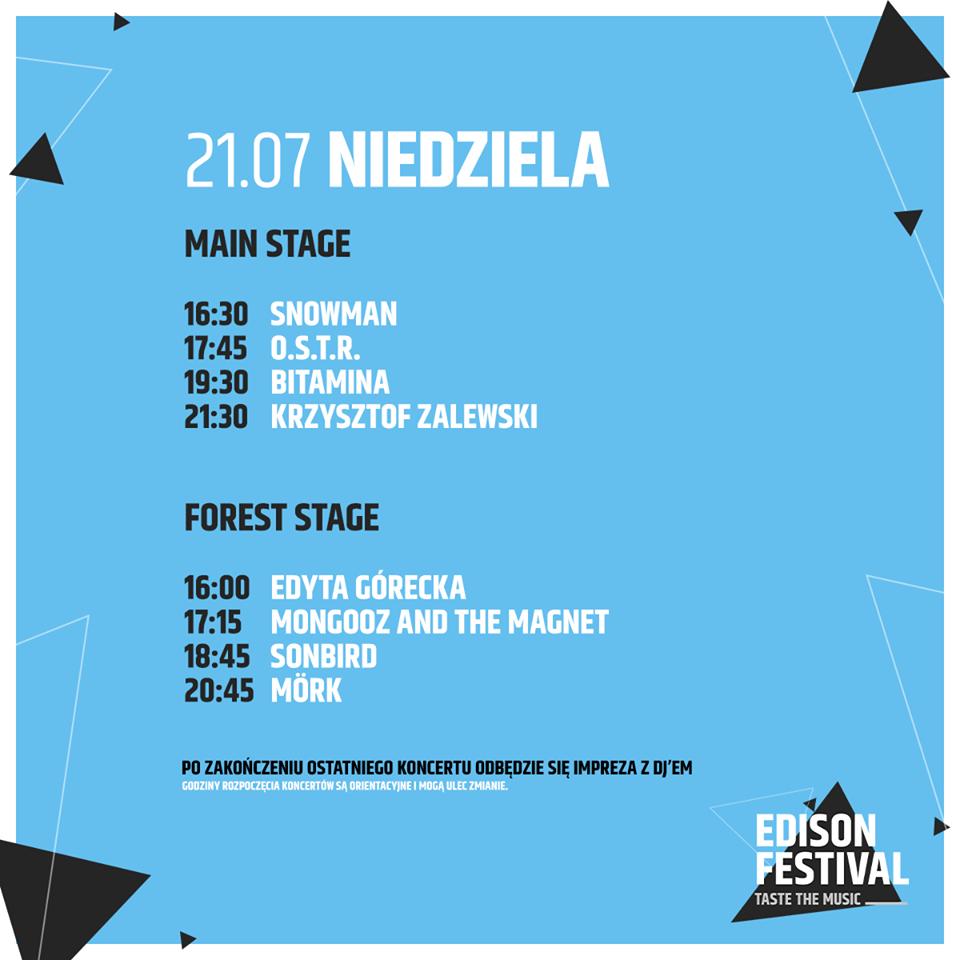 Edison Festival 2019 - timetable niedziela 21 lipca