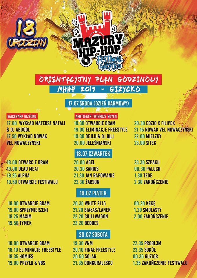 Mazury Hip-Hop Festiwal 2019 timetable
