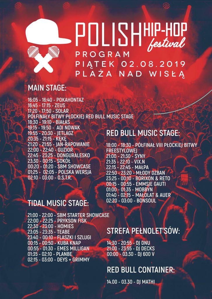 Polish Hip-Hop Festival 2109 - timetable piątek 2 sierpnia