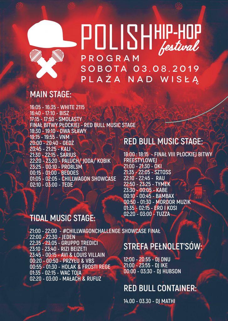 Polish Hip-Hop Festival 2019 - timetablw sobota 3 sierpnia