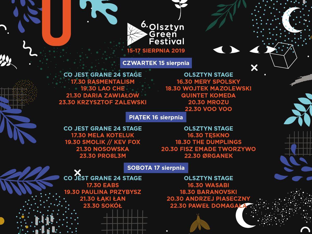 Olsztyn Green Festival 2019 rozpiska