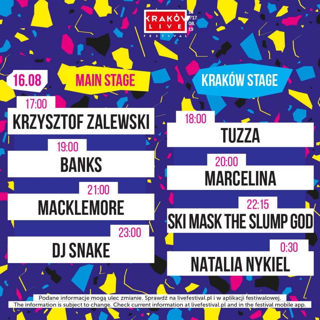 kraków live festivasl 2019 timetable 16 sierpnia
