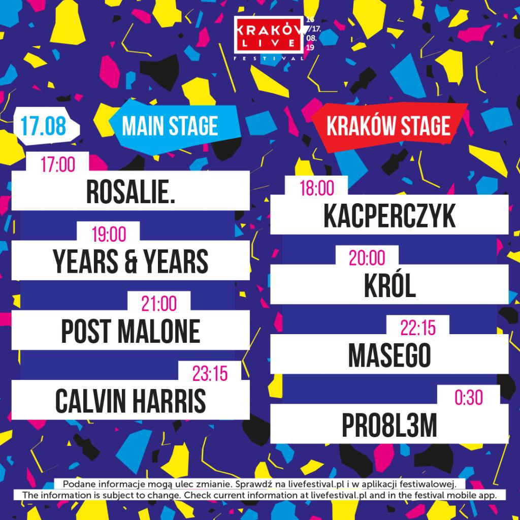 kraków live festival 2019 timetable sobota 17 sierpnia