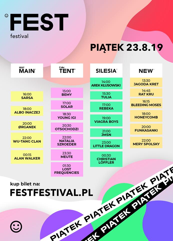 fest festival 2019 timetable piatek 23 sierpnia
