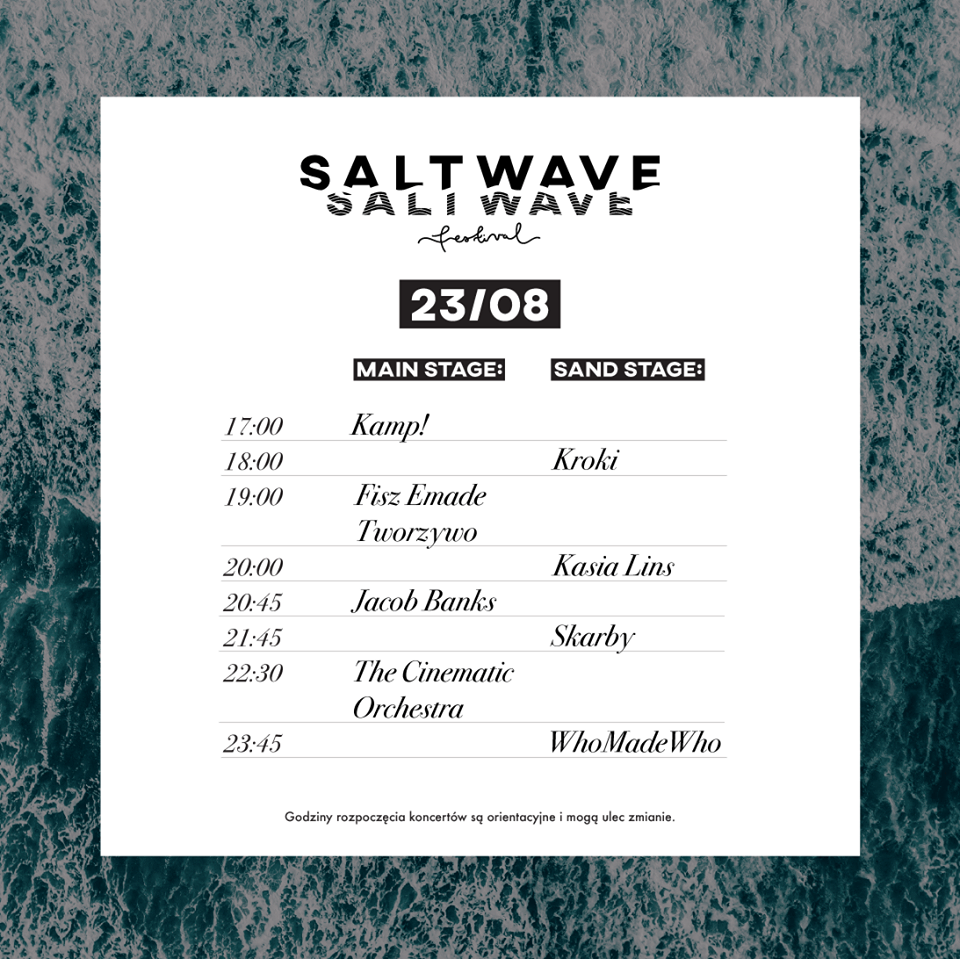 salt wave festival 2019 timetable piątek 23 sierpnia