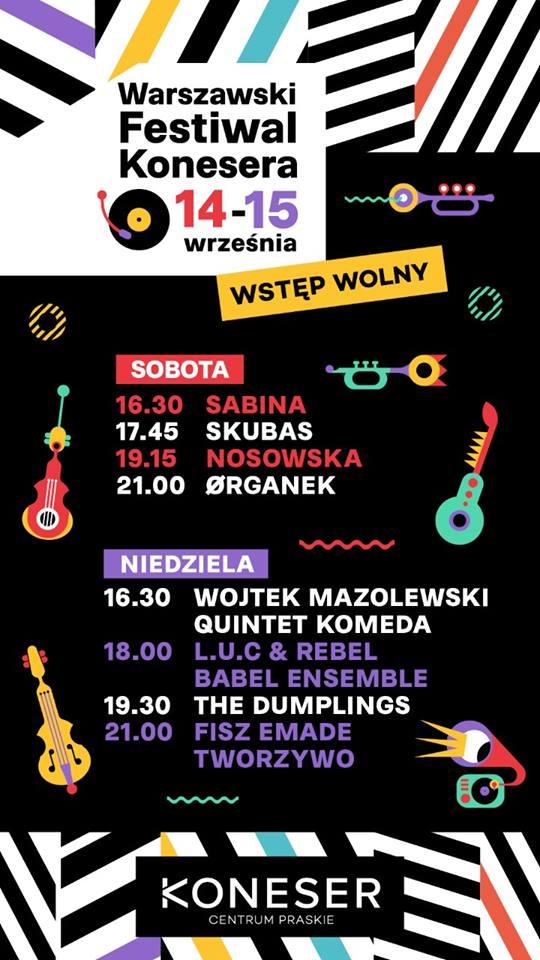 Warszawski Festiwal Konesera - line-up, timetable