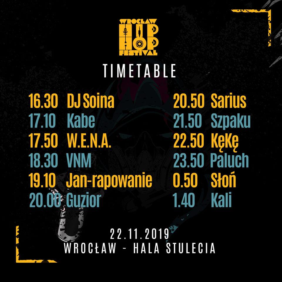 Wrocław Hip Hop Festiwal 2019 - timetable