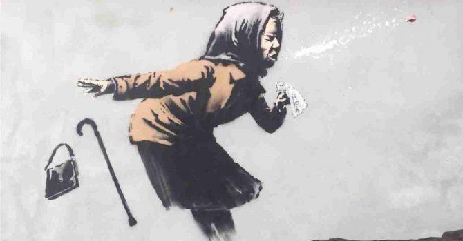 "Banksy z kolejnym pandemicznym muralem. ""Aachoo!"""