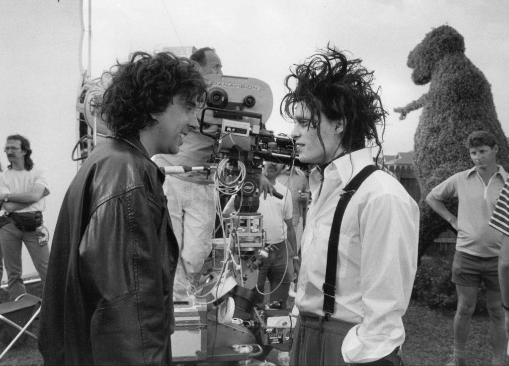 im Burton i Johnny Depp podczas kręcenia Edwarda Nożycorękiego