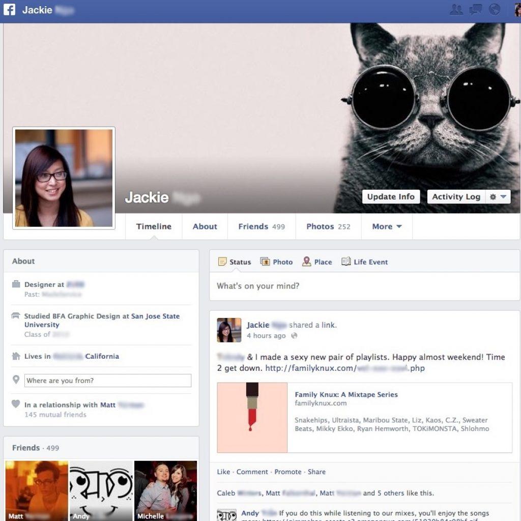 Facebook pojedyncza oś czasu