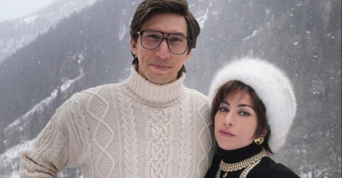 "Lady Gaga i Adam Driver jako Patrizia Reggiani i Maurizio Gucci na planie filmu ""House of Gucci"""