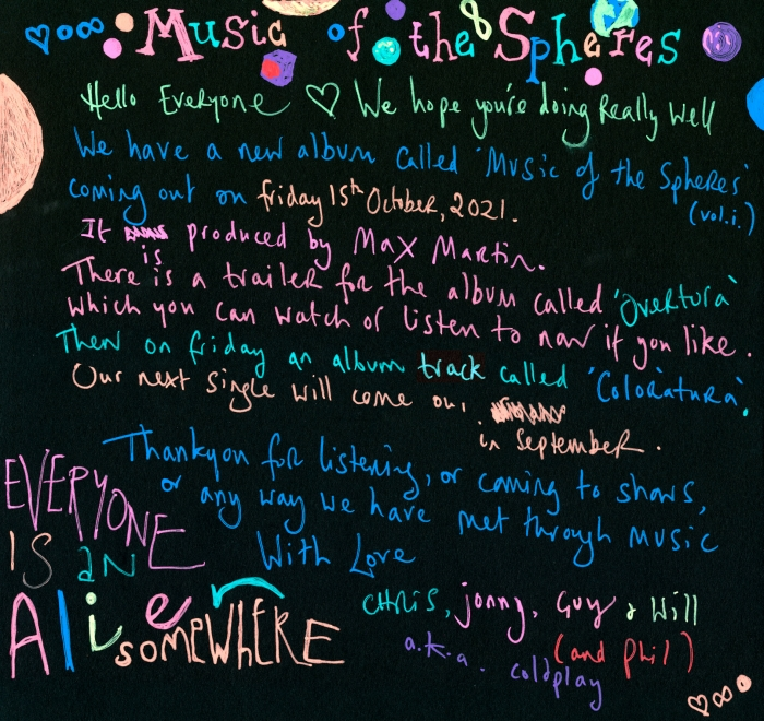 """Coldplay - """"Music of the Spheres"""", now album"""